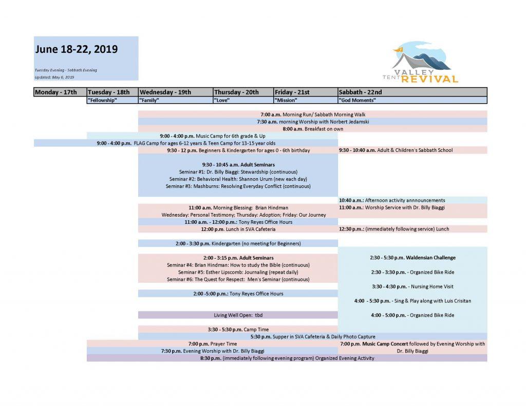 2019 VTR General Schedule